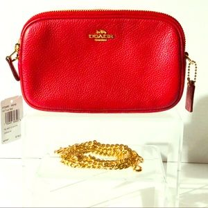 Coach- pebbled leather in red crossbody w chain